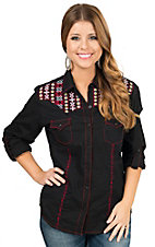 Panhandle Women's Black with Red and Yellow Embroidery Long Sleeve Western Shirt