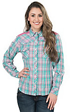 Panhandle Women's Seafoam Green & Pink Plaid with Lace Long to 3/4 Sleeve Western Shirt