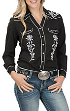 Panhandle Women's Long Sleeve Black Embroidered Retro Western Snap Shirt