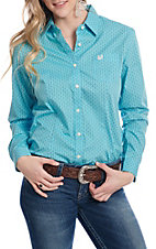 Panhandle Women's Turquoise With Brown And White Print Long Sleeve Western Shirt