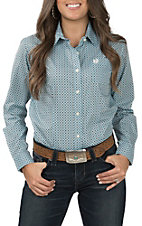 Panhandle Women's Turquoise and Brown Print Long Sleeve Western Shirt