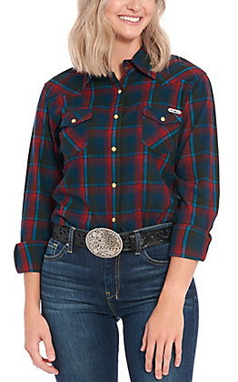 Powder River Outfitters by Panhandle Women's Burgundy Plaid Long Sleeve Flannel