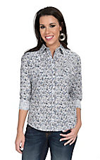 Panhandle Women's White with Blue Paisley Print Western Shirt