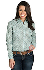Panhandle Women's Aqua & Chocolate Print Long Sleeve Western Shirt