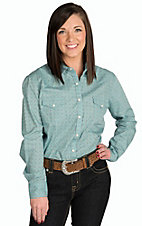 Panhandle Women's Light Turquoise Mini Print Western Shirt