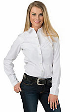 Panhandle Women's White with Floral Embroidery Long Sleeve Retro Western Shirt