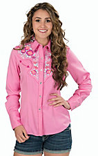 Panhandle Women's Pink Rose Terrace Embroidery Retro Long Sleeve Western Shirt