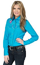 Panhandle Women's Turquoise with Floral Embroidery Retro Long Sleeve Western Shirt