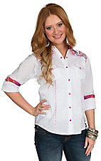 Panhandle Women's White with Multicolor Paisley Embroidery Long Sleeve Western Shirt