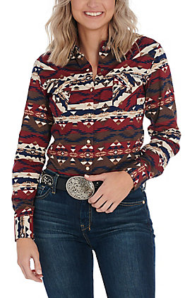 Powder River Outfitters by Panhandle Aztec Print Long Sleeve Western Shirt