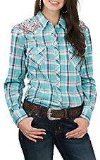 Panhandle Women's Light Blue and Red Plaid with Embroidery L/S Western Snap Shirt
