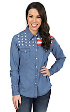 Panhandle Women's Chambray Land Of The Free Long Sleeve Western Shirt