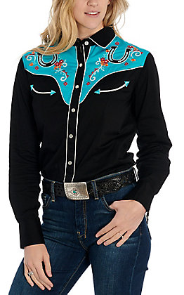 Panhandle Women's Black Retro Horseshoe Embroidered Long Sleeve Western Shirt