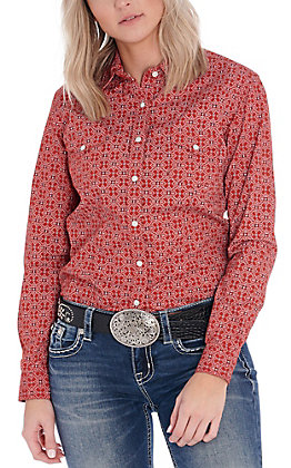 Panhandle Women's Red Bandana Print Long Sleeve Western Shirt
