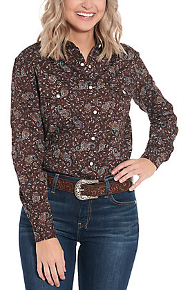 Panhandle Women's Brown with Turquoise Paisley Long Sleeve Western Shirt