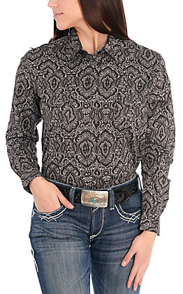 Panhandle Women's Black and Grey Paisley Print Long Sleeve Stretch Western Shirt