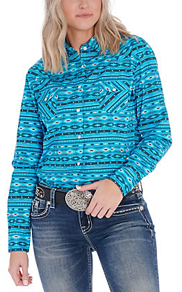 Panhandle Women's Turquoise and Black Aztec Print Long Sleeve Western Shirt