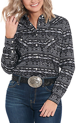 Panhandle Women's Black Aztec Print Long Sleeve Western Shirt