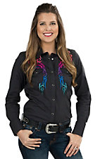 Panhandle Women's Black Multi Tribal Embroidered Long Sleeve Western Shirt