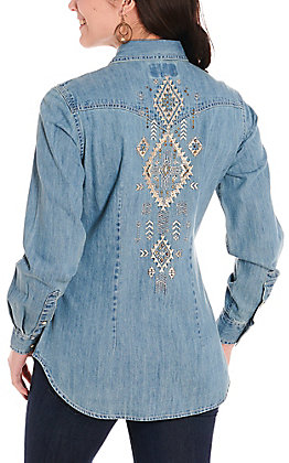 Panhandle Women's Denim with Aztec Embroidery Long Sleeve Western Shirt