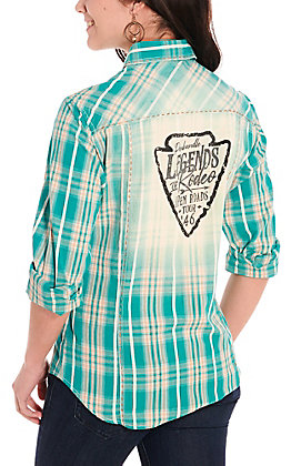 Panhandle Women's Teal and Tan Plaid Legends of Rodeo Long Sleeve Western Shirt