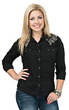 Panhandle Women's Black with Metallic Embroidered Yokes Long Sleeve Western Shirt