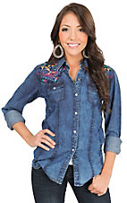 Panhandle Women's Chambray with Multicolor Aztec Embroidery Long Sleeve Western Shirt
