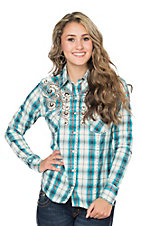 Panhandle Women's Turquoise & Red Plaid with Embroidery Long Sleeve Western Shirt