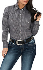 Panhandle Women's Black and Grey Geo Print L/S Western Snap Shirt