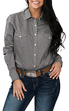 Panhandle Women's Brown, White and Blue Geo Print L/S Western Snap Shirt