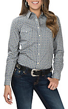 Panhandle Women's Blue and Grey Diamond Print L/S Western Snap Shirt