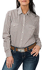 Panhandle Women's Light Grey, Red and Black Diamond Print L/S Western Snap Shirt