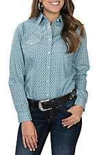 Panhandle Women's Light Blue Geo Print L/S Western Snap Shirt