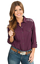 Panhandle Women's Berry with Arrow Embroidery Long to 3/4 Sleeve Western Shirt