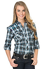 Panhandle Women's Turquoise & Black Plaid with Aztec Embroidery Long to 3/4 Sleeve Western Shirt