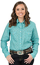 Panhandle Women's Turquoise Print Long Sleeve Western Shirt