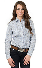 Panhandle Women's Blue Paisley Long Sleeve Western Shirt