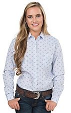 Panhandle Women's Blue & White Print Long Sleeve Western Shirt