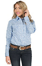 Panhandle Women's Blue Paisley Print Long Sleeve Western Snap Shirt