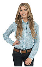 Panhandle Women's Turquoise & Brown Paisley Print Long Sleeve Western Shirt