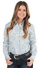 Panhandle Women's White Paisley Print Long Sleeve Western Shirt