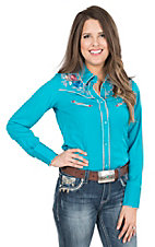 Panhandle Women's Turquoise with Pink, Cream, and Blue Embroidery Long Sleeve Retro Shirt