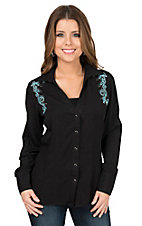Panhandle Women's Black with Turquoise Swirl Embroidery Long Sleeve Retro Shirt