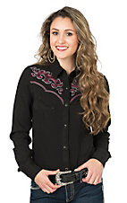 Panhandle Women's Black with Red, Grey, and White Swirl Embroidery Long Sleeve Retro Shirt