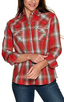 Panhandle Women's Red and Grey Plaid with Embroidery Long Sleeve Western Shirt