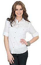 Panhandle Women's White with Floral Embroidery Long to 3/4 Tab Sleeve Western Shirt
