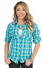 Panhandle Women's Blue & Green Plaid with Embroidery Long to 3/4 Sleeve Western Shirt
