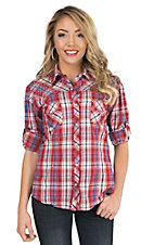 Panhandle Women's Red & Purple Plaid with Studs Long to 3/4 Sleeve Western Shirt