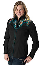 Panhandle Slim Women's Midnight Rider Black with Floral Embroidery Long Sleeve Retro Western Shirt
