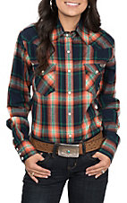 Powder River by Panhandle Women's Navy, Green and Orange Brushed Plaid Long Sleeve Shirt